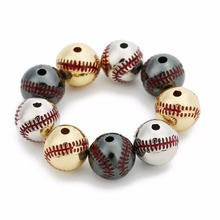 LOULEUR 2pcs/lot Sproty Baseball Silver/Gold/Black Color Big Hole Copper Spacer Beads for Charm Women Jewelry Making Accessories