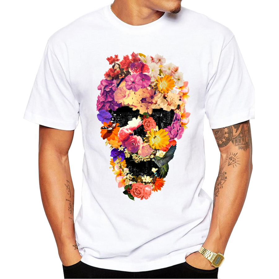 Nieuwigheid ontwerp bloemen schedel print mannen t-shirt topkwaliteit mode korte mouw mannen t-shirts heren t-shirts tops mannen t-shirt