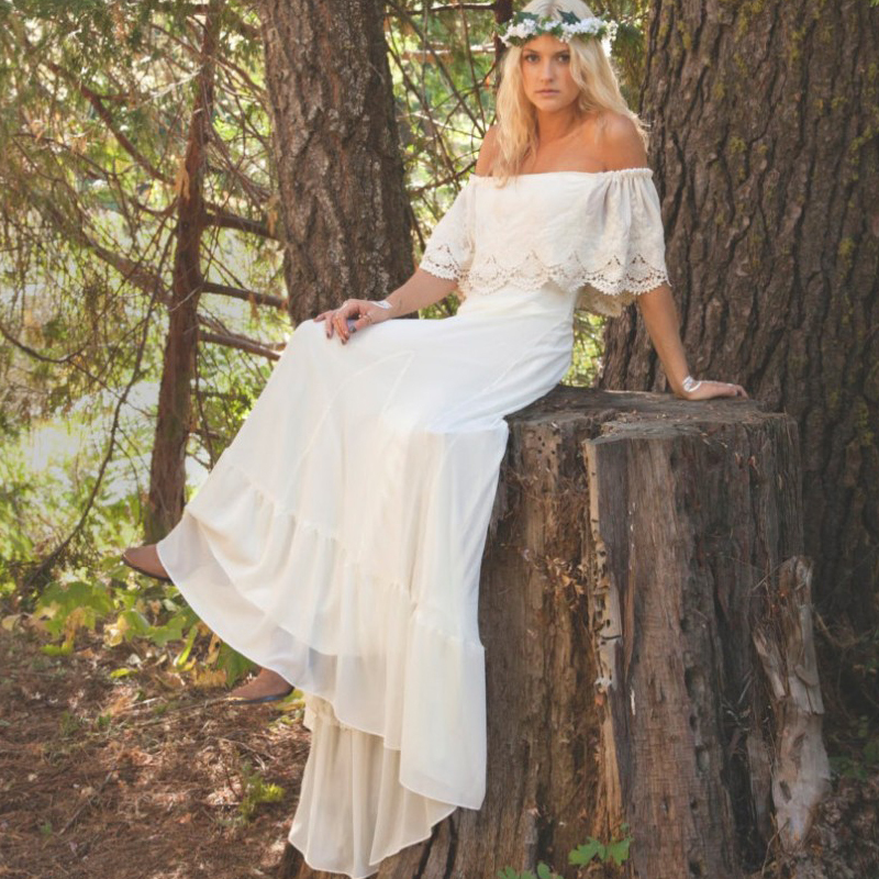 Popular spandex wedding dress buy cheap spandex wedding for Bohemian white wedding dress