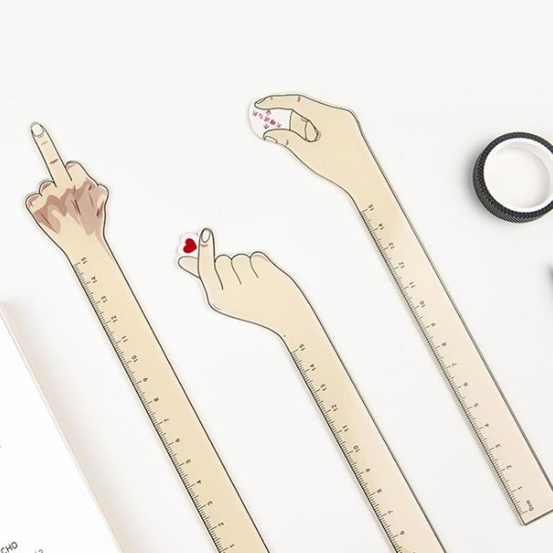 1 Pcs Kawaii 15cm Acrylic Hand Gesture Heart Finger Measuring Straight Rulers Bookmark Drawing Ruler Stationery School Supplies