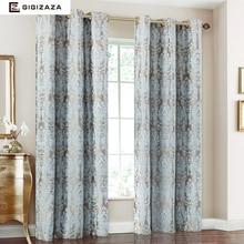 Luciérnaga Jacquard ventana de cortinas de tela pesada de alta calidad con alambre de plata incrustar 65% shading para salón floral Azul color