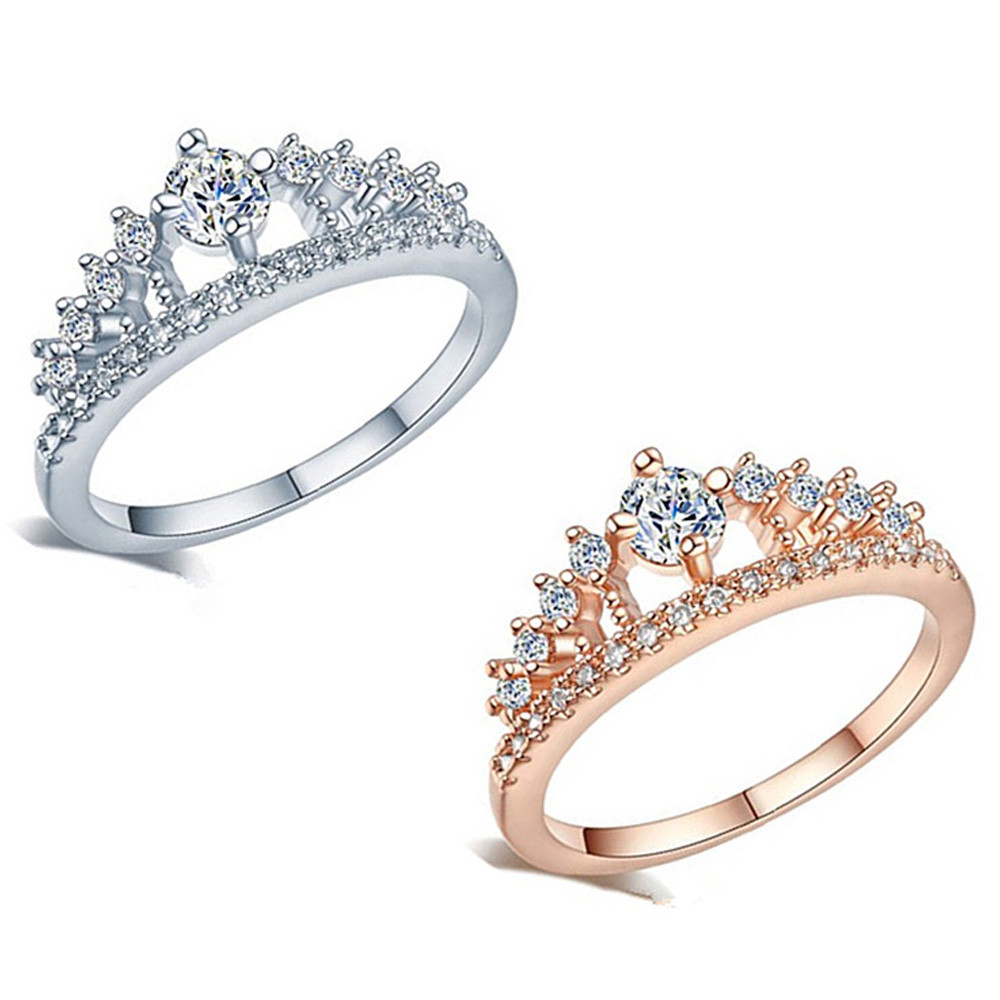 Top Quality New Fashion Gold Pretty Crown Lady Crystal Ring Princess Ring For Man Or Woman Gift Engagement Ring Wholesale #25