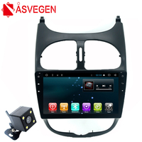 Asvegen Car Autoradio For Peugeot 206 Android 8.1 Quad Core Stereo Bluetooth 9 inch Multimedia System GPS Navigation DVD Player