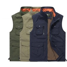 AFS JEEP Vest Brand Clothing Summer Autumn Men Photograph Vest With Many Pockets Embroidery Sleeveless Jacket Male Waistcoat цена