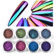 8 colors chrome Chameleon Color metallic mirror powder nail art glitter dip dust laser mermaid MZ008