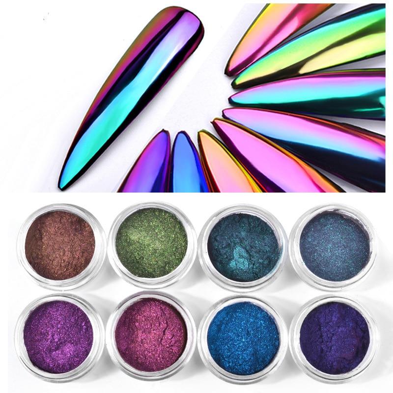 Nagelglitzer Genial 8 Farben Chrome Chameleon Farbe Metallic Spiegel Pulver Nail Art Glitter Dip Pulver Staub Laser Meerjungfrau Nagel Pulver Mz008