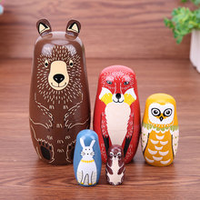 5Pcs/Set Basswood Russian Matryoshka Dolls Bear Ear Nesting Dolls Gift Russian Traditional