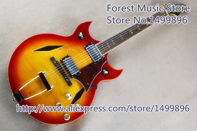 Cheap New Arrival CS Cherry Sunburst ES Electric Guitars China Hollow Maple Double Cutaway Guitar Body For Sale