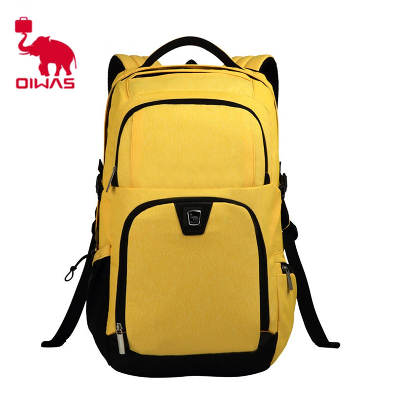 Oiwas 30.7L Laptop Women Men Travel bag Business Backpack Waterproof School Backpack Bookbag Travelling Backpack Yellow Gray Bag 2018 new oiwas laptop business backpack lightweight waterproof traval backpack solid color two colors for male bag