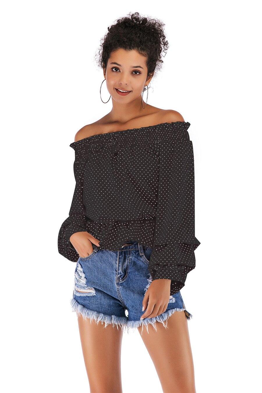 Gladiolus Chiffon Blouse Women 2019 Spring Autumn Long Sleeve Polka Dot Off Shoulder Sexy Blouses Women Shirts Ruffles Blusas (13)