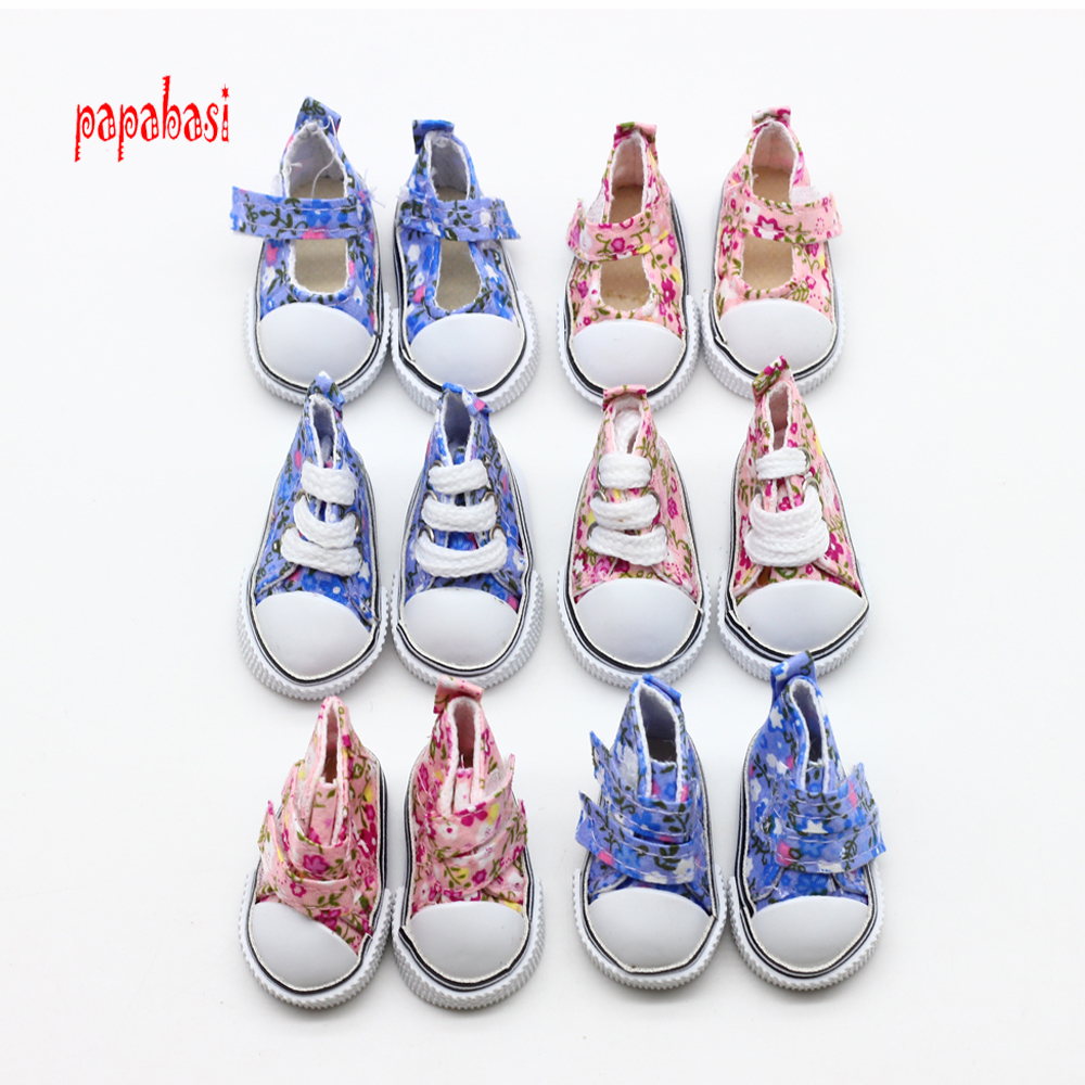 Papabasi 1pair 5CM Canvas Doll Shoes for 1/6 Scale Dolls,Lovely BJD Doll Boots for Russian Doll Accessories Free Shipping