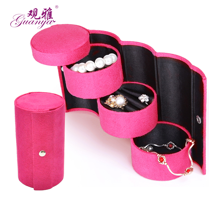 Fashion Three Layers Protable Velvet Jewelry Boxes Small Size Womans Favorite Jewel Case Lovely Jewelry Gift Box Hot Selling
