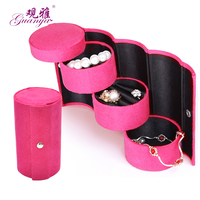 Fashion Three Layers Easy To Carry Velvet Jewelry Boxes Noble Woman S Favorite Jewel Case Free