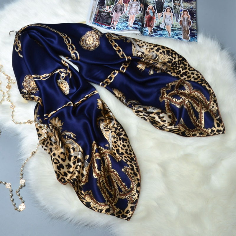 Leopard Print Large Square Silk   Scarf   Shawl Luxury Hand Rolled Edges Women Ladies Fashion 100% Silk Scarfs   Wraps   Gifts 106x106cm