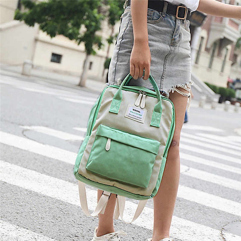 Moda feminina lona mochilas lona portátil bolsa de ombro à prova dwaterproof água sacos de escola para adolescentes meninas retalhos mochila