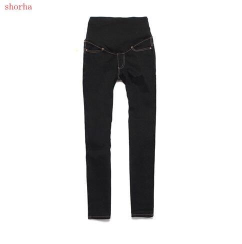 New Pregnant Women Elastic Jeans Denim Pencil Pants Maternity Trousers Adjustable Pregancy Clothing Black Blue