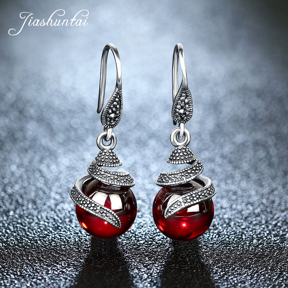 JIASHUNTAI 100% 925 Sterling Silver Garnet Earrings For Women Retro Ruby Red Gemstone Round Drop Earrings Silver Jewelry GiftsJIASHUNTAI 100% 925 Sterling Silver Garnet Earrings For Women Retro Ruby Red Gemstone Round Drop Earrings Silver Jewelry Gifts
