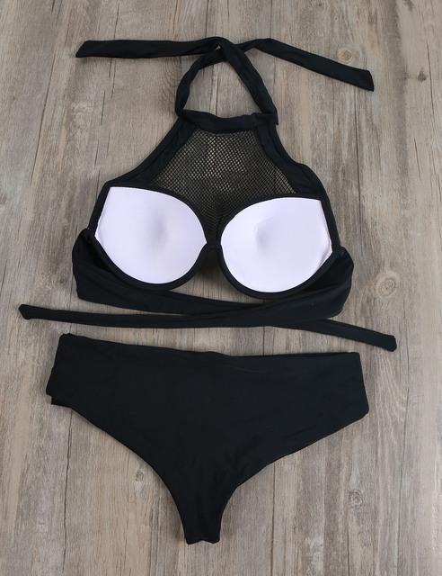 Women Bikini Set Swimwear White Bathing Suit Lace Bra