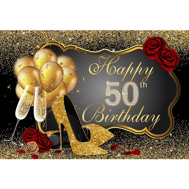 <font><b>Happy</b></font> <font><b>50th</b></font> <font><b>Birthday</b></font> Party <font><b>Backdrop</b></font> Printed Gold Balloons High Heels Champagne Red Roses Custom Photo Booth Background image
