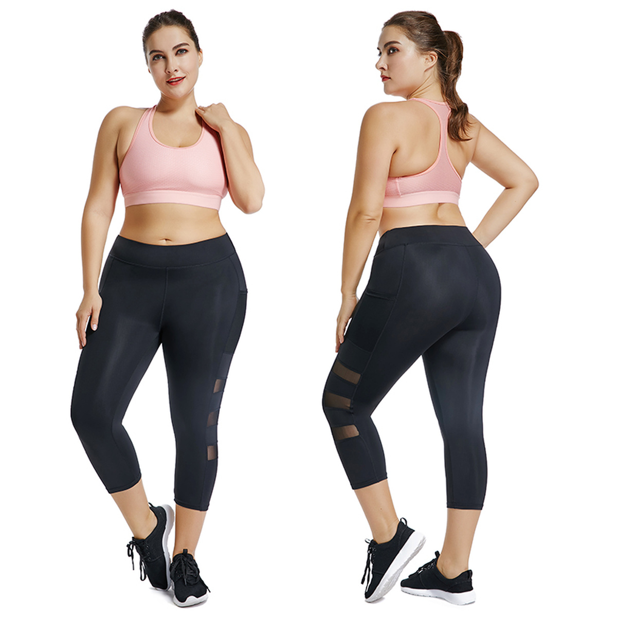 Joyshaper Plus Size Well Fitting Women Capri Workout Leggings With Pockets Breathable Mesh Mid-Calf Gym Sport Pants Jeggings