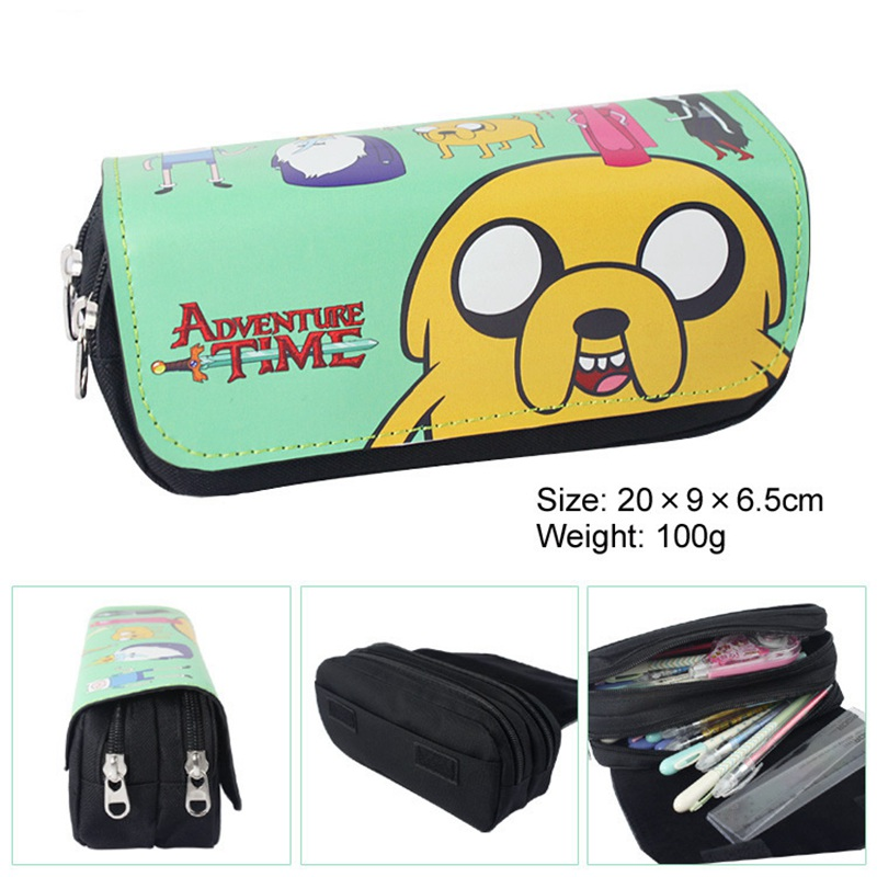 Cartoon Adventure Time Pencil Case Cute Pencil Bag Pouches Double Zipper Children Student School Stationery Girl Kids Gifts free shipping boy girl cartoon frozen girl pencil case bag school pouches cute children student prize pen sack stationery