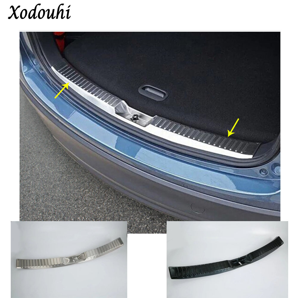 Car body Stainless Steel inner Rear Bumper trim plate lamp frame trunk pedal threshold 1pcs For Mazda CX-5 CX5 2nd Gen 2017 2018 for mazda cx 5 cx5 2017 2018 kf 2nd gen car co pilot copilot stroage glove box handle frame cover stickers car styling