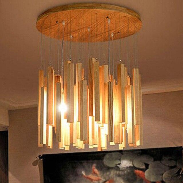 Nordic luces pendientes creativa l mparas madera sala de - Estructuras para lamparas ...