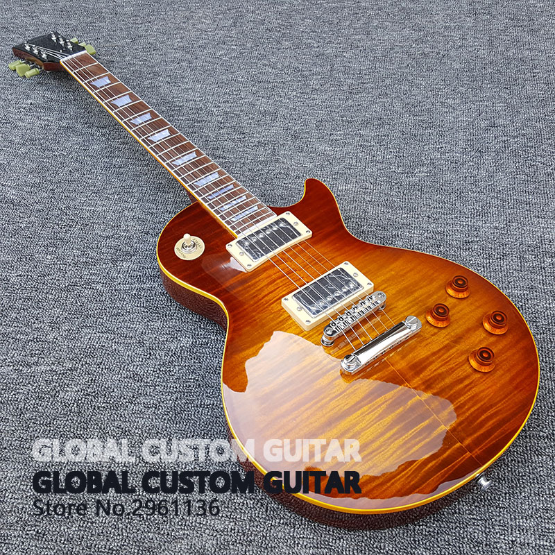 2017 New Wholesale Custom shop 1959 R9 Tiger Flame electric guitar Standard LP 59 electric guitar HOT! Free shipping free delivery of high quality custom shop electric guitar black hardware ebony bound lp guitar wholesale and retail real phot
