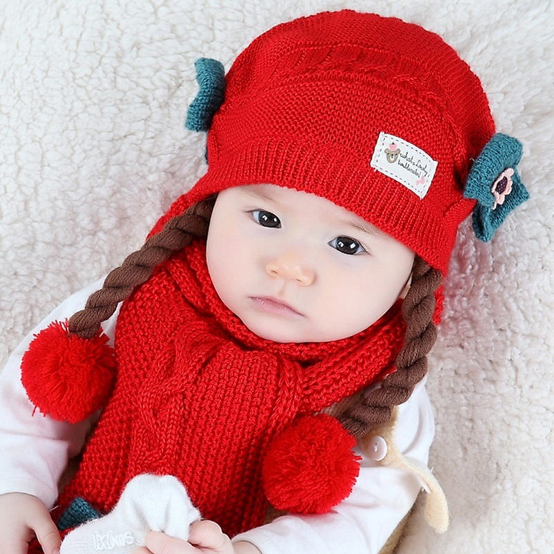 5 Colors Gifts Cute Baby Kids Winter Warm Wool Hat Scarf Set Knitted Thick Double Layer With Wig And Bow Cap For Girls