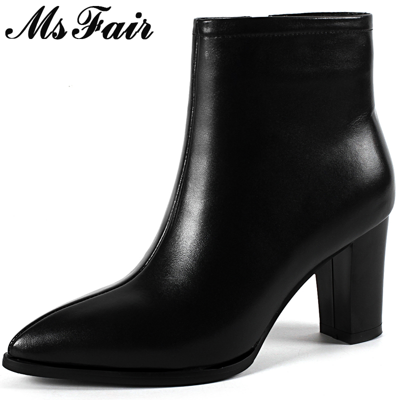 MsFair Women Boots Fashion Zipper Pointed Toe High Heel Ankle Boots Women Shoes Sexy Genuine Leather Black Boot Shoes For Girl japanese silicone sex dolls robots anime full size oral love doll realistic adult for men big breast ass sexy vagina real pussy