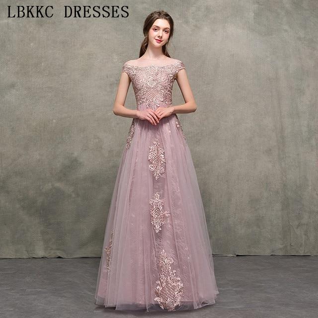 Nude Pink Off The Shoulder Prom Dresses A Line Gala Jurken Tulle Lace Vestido De Festa -9926