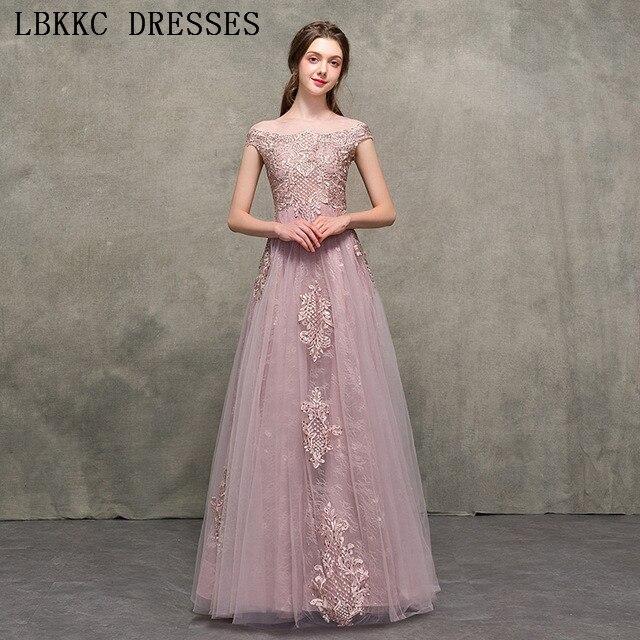 Nude Pink Off The Shoulder   Prom     Dresses   A Line Gala Jurken Tulle Lace Vestido De Festa Floor Length   Prom   Long Elegant   Dresses