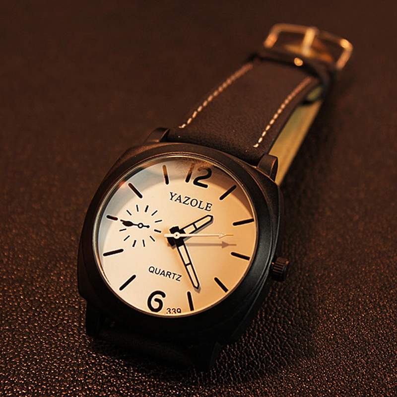 339 Fashion Men Quartz Watch Top brändi luksuslik nahk käekellad - Meeste käekellad - Foto 4
