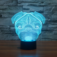 Hot NEW 7color changing 3D Bulbing Light SharPei visual illusion LED lamp creative action figure toy Christmas gift