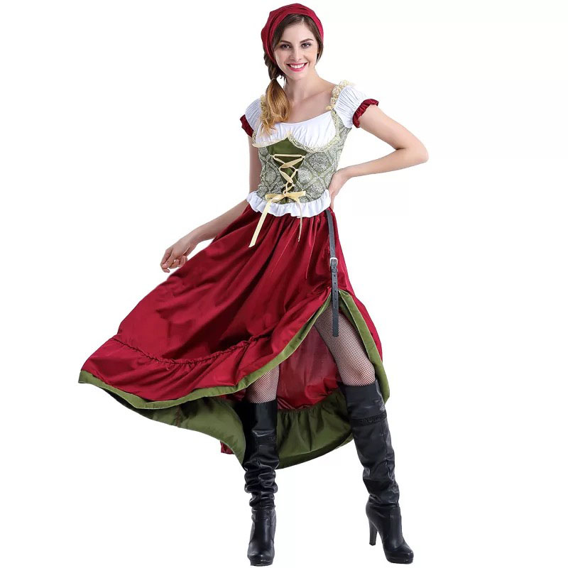 Women Oktoberfest Dirndl Costume Beer Festival Mardi Dress Long Outfit 1
