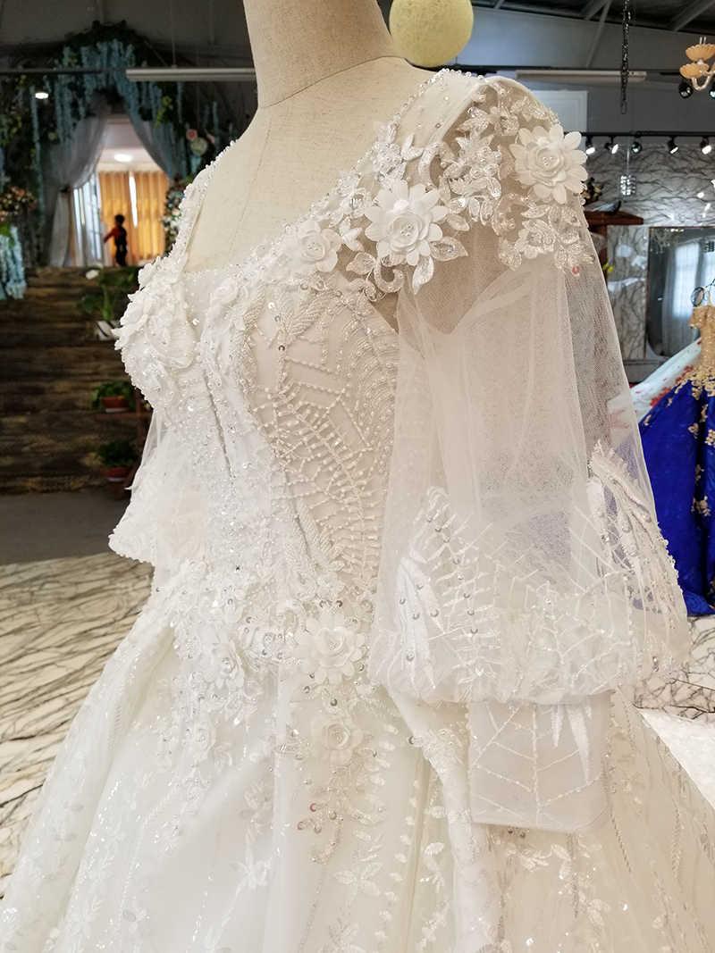 LS12800 linterna manga venta al por mayor belleza vestido de boda cuello redondo keyhole back vestido de novia 2018 hecho en china con tren largo