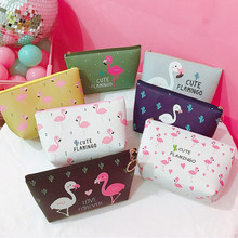 Creative Flamingo Pattern Women Cosmetic Bag Storage Zipper PU Makeup Toiletry Portable Make Up Case Pouch Wash Kit