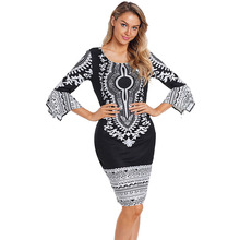 Adult Women African Dashiki Print Dress 3/4 Sleeves Midi-Length Bodycon Dress Round Collar Black White Outfit For Ladies black floral print 3 4 length sleeves long coat