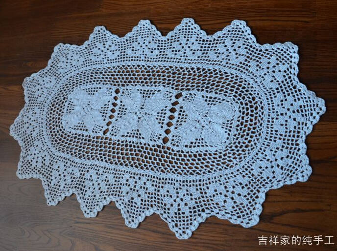 2PCS Handmade Crochet Cotton Tablecloths Decorative Placemats Table Cloth  Vases Oval Mat Furniture Cover Cloth In Tablecloths From Home U0026 Garden On  ...