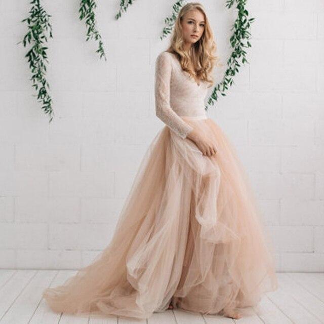 ccf68f367 € 41.56 5% de DESCUENTO Nueva falda de tul nupcial de la manera falda de  tul de color champán faldas de boda de marfil personalizado capas largas ...