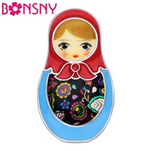 Купить с кэшбэком Bonsny Enamel Alloy Cute Russian Dolls Brooch Clothes Scarf Decoration Ethnic Jewelry Pin For Women Girls Teens Gift Souvenir