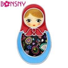 Bonsny эмалированная брошь из сплава в виде милых русских кукол