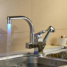 LED превосходное качество и разумно в цене кухонный кран хром полированный бассейна кран горячей и холодной воды Поворотный Смеситель Коснитесь