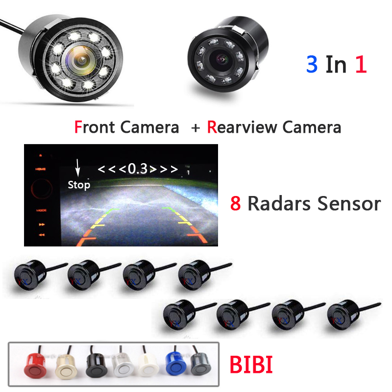 Car Parking Sensor 8 Alarm Sound ParktronicWith Front camera and Car Rear view Camera Auto accessories Video car parking system