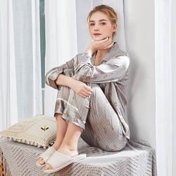 CEARPION новая полосатая Пижама комплект элегантные длинные топы и брюки комплект спальный костюм пижама Для женщин гостиная халат домашняя