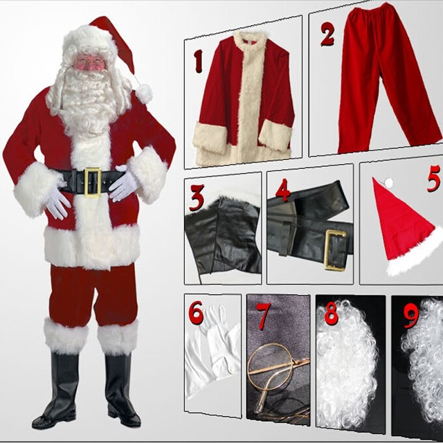 Santa Claus 2 colors Christmas costume adult full set cosplay ...