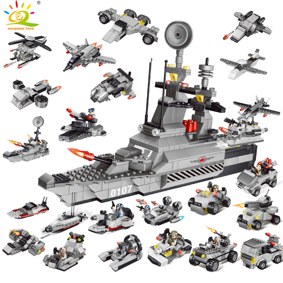 829pcs Military Army warship Building Blocks Compatible legoe Swat police figures weapon Tank Helicopter Bricks Toy for Children military swat team city police armed