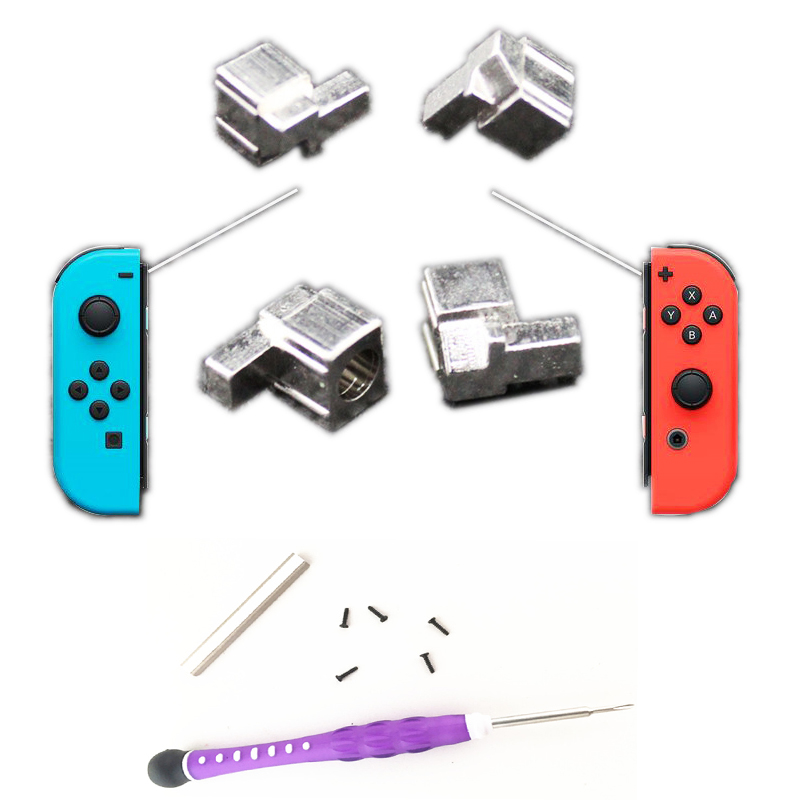 4PCS Metal Lock Buckles+Disassemble Screwdriver Conductive Foam Sponge Repair Tool Kit for Nintend Switch NS Joy Con NX Joy-Con