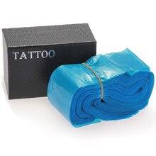 Pro 100 stücke Medizinische Blau Kunststoff Tattoo Maschine Clip Cord Sleeves Abdeckungen Taschen