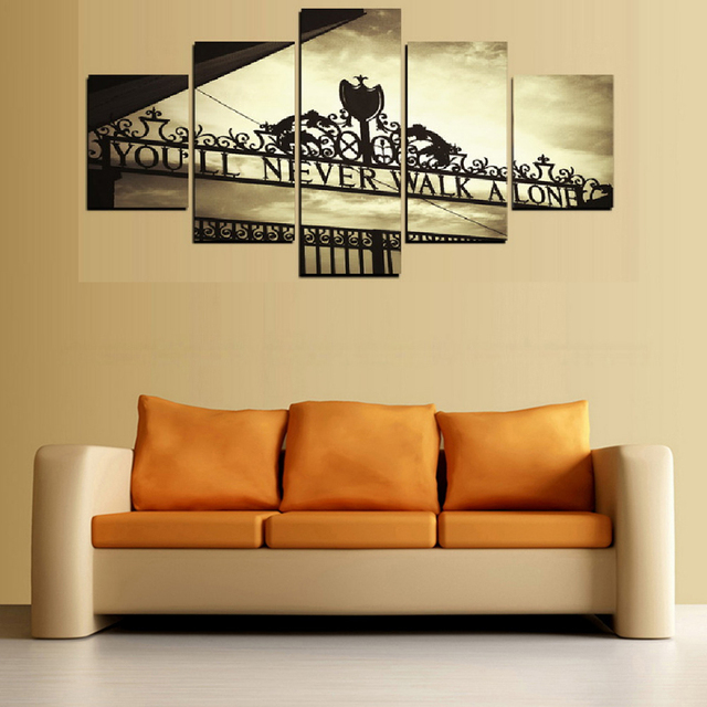 Frame Wall Art Poster Modern 5 Panel You Will Never Walk Alone Living Room Canvas HD Print Painting Modular Home Decor Pictures 2